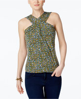 MICHAEL Michael Kors Quinn Printed Cross-Neck Top