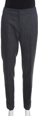 Armani Collezioni Dark Grey Felted Wool Straight Fit Trousers M