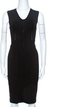 Giorgio Armani Black Knit Cutout Detail Sheath Dress S