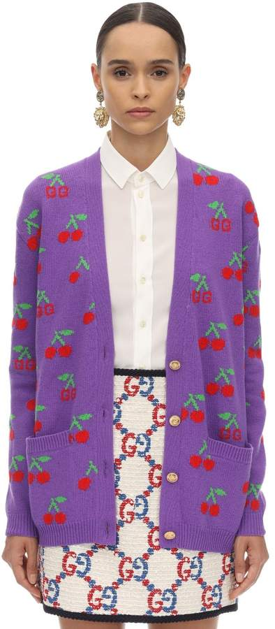 Gucci GG & CHERRY INTARSIA WOOL KNIT CARDIGAN
