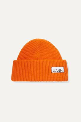 Ganni Ribbed Wool-blend Beanie - Orange