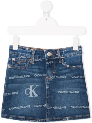 Calvin Klein Kids Logo-Print Denim Mini Skirt