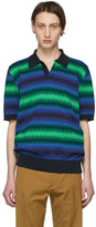 Dries Van Noten Navy and Green Mix Network Polo