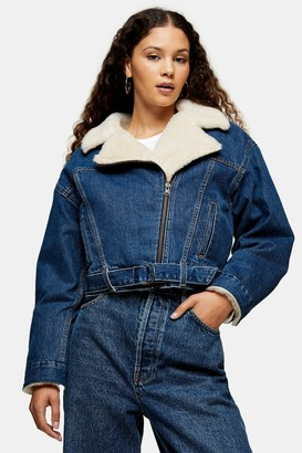 Levi's Womens Denim Cocoon Bomber Jacket By Mid Blue