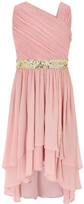 Monsoon Abigail One Shoulder Dress - Dusky Pink