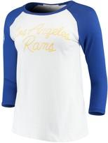Junk Food Clothing Unbranded Women's White/Royal Los Angeles Rams Retro Script Raglan 3/4-Sleeve T-Shirt