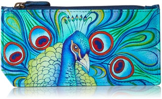 Anuschka Hand Painted Leather Women's RFID Blocking Card Case with Coin Pouch - Jeweled Plume