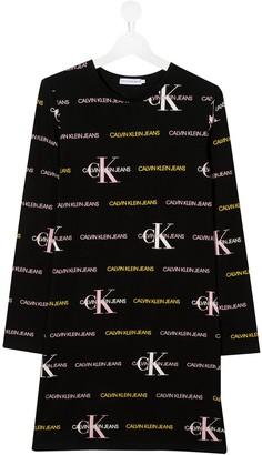 Calvin Klein Kids TEEN logo long-sleeve dress