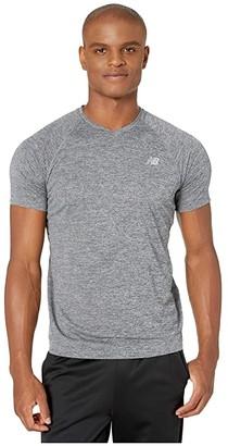 New Balance Impact Run Mesh Short Sleeve (Black Heather) Men's Clothing