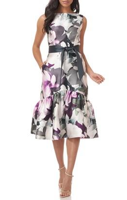 Kay Unger Floral Sleeveless Mikado Cocktail Midi Dress