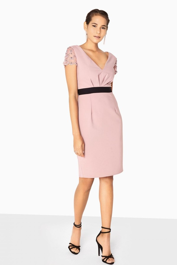 Thumbnail for your product : Little Mistress Arabella 3D Floral Mesh Sleeve Dress