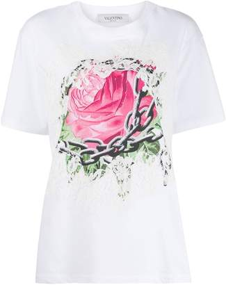 Valentino rose print lace T-shirt