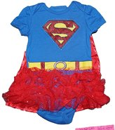 Disney DC Supergirl Baby Girls Creeper with Ruffled Mesh Flounce and Cape - Blue