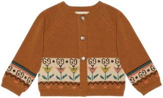 Gucci Baby GG flowers wool jacquard cardigan
