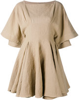 J.W.Anderson pleated trim dress - women - Linen/Flax - 8