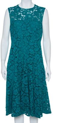 Carolina Herrera Green Floral Lace Fit & Flare Dress L