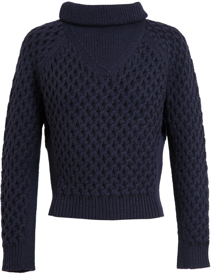 Carven Cropped Cable Knitted Jumper