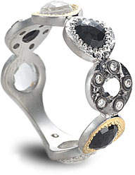 Coomi Opera Black Spinel Ring with Diamonds, Size 7