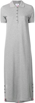 Thom Browne Center-Back Stripe Long Polo Dress