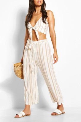 boohoo Tonal Stripe Tie Waist Linen Look Beach Pants