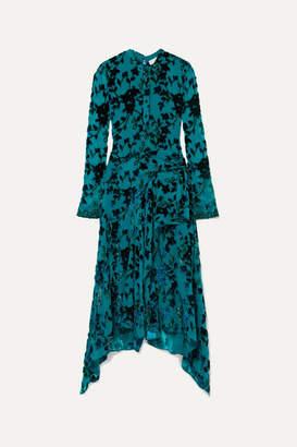 Chloé Draped Lace-trimmed Devore-crepon Midi Dress - Teal