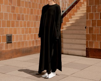 Base Range Shaw Long Sleeve Fleece Rib Kaftan - xtra small | black - Black/Black
