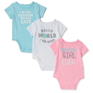 Garanimals Baby Girl Graphic Bodysuits, 3pk