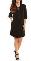 Jones New York Lace-Up Neck Roll-Tab Sleeve Shirtdress
