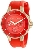 Vince Camuto Women's VC/5108RDRD Gold-Tone Multi-Function Red Silicone Strap Watch