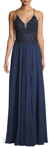 Faviana Chiffon & Beaded Lace-Up Gown