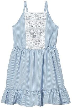 BCBG Girls Cotton Stripe Inserted Lace Dress (Big Kids) (Light Blue) Girl's Clothing