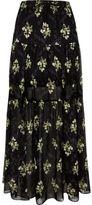 River Island Womens Black floral print tiered maxi skirt