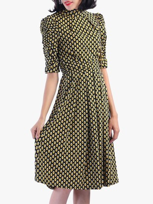 Jolie Moi Geometric Print Turtleneck Dress, Yellow
