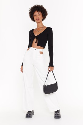 Nasty Gal Womens Out of Pocket Cut-Out Wide-Leg Jeans - White - 10