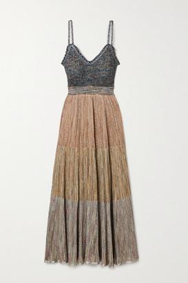 Missoni Ruffled Metallic Crochet-knit Maxi Dress - Blush