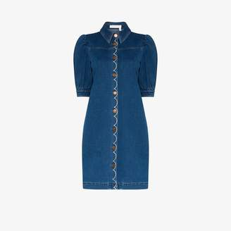 See by Chloe Womens Blue Button-up Denim Dress