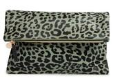 Clare Vivier Leopard Print Genuine Calf Hair Foldover Clutch - Green