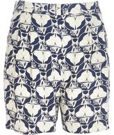 River Island Womens Blue petal print retro high rise shorts