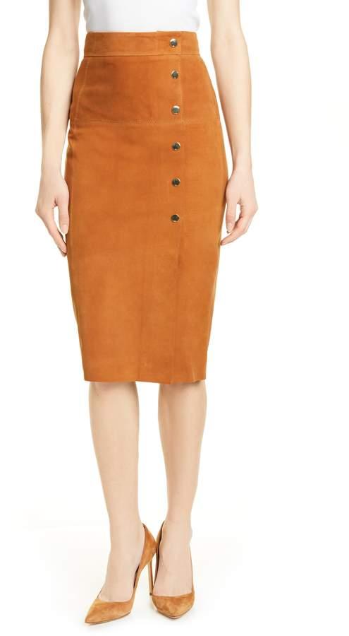 Karen Millen Snap Front Suede Pencil Skirt