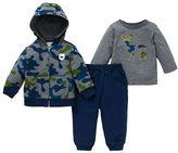 Little Me Baby Boys Three-Piece Printed Hoodie, Crewneck Tee and Pants Set