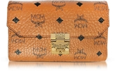 MCM Millie Visetos Cognac Coated Canvas Medium Flap Crossbody