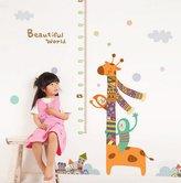 """Ikeelife® Ikeelife Home Decorative Mural PVC Removable Cute Cartoon Giraffe Height Chart Wall Sticker Bedroom Kindergarten Kids Nursery Wall Art Decal Paper 60x90cm / 23.64x35.46"""""""