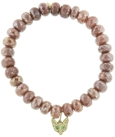 Sydney Evan Fox Head Charm On Light Grey Quartz Beaded Bracelet