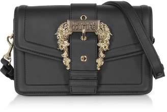 Versace Black Leather Crossbody Bag W/ Buckle