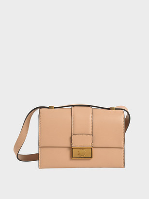 Charles & Keith Metallic Push-Lock Crossbody Bag