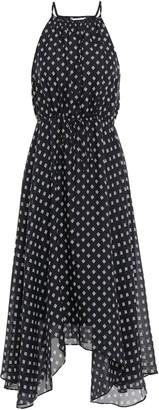 Joie Asymmetric Printed Silk-seersucker Midi Dress