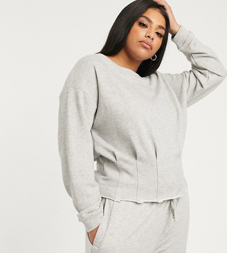 Asos DESIGN Curve lounge mix & match loopback raw edge off shoulder sweat