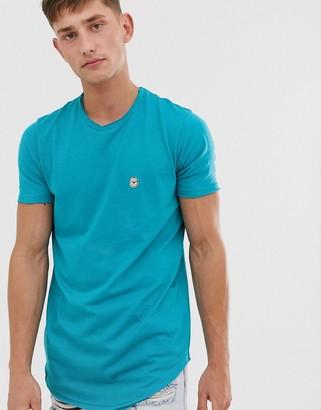 Le Breve raw edge longline t-shirt-Blue