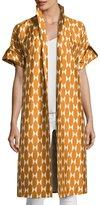 Tory Burch Haley Diamond Tile-Print Short-Sleeve Silk Jacket, Orange/White