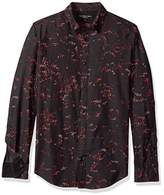 Calvin Klein Jeans Men's Long Sleeve Abstract Floral Print Button Down Shirt